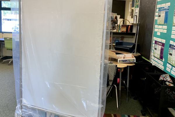 """""""It's probably not CDC approved,"""" says teacher Kerry Kolda of her mobile plastic barrier."""