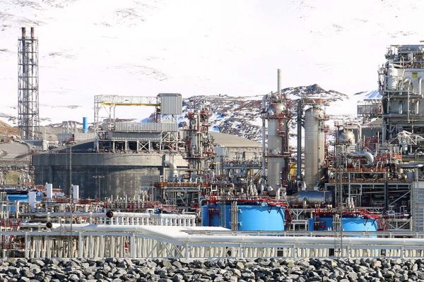 The Melkøya liquefied natural gas (LNG) facility in Hammerfest, northern Norway