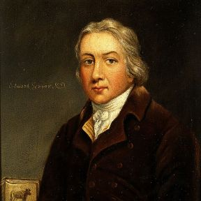 Edward Jenner, artist unknown. Note the cow in the left lower corner.