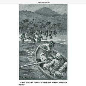 Illustration from Melville's Typee, by American artist and illustrator Augustus Burnham Shute, 1892.