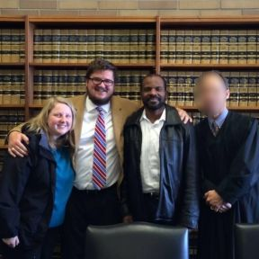 My wife, Virginia, my father, Aaron and I at the adult adoption hearing