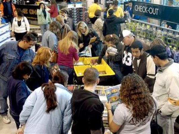Shoppers in a discount store