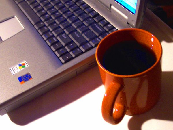 laptop and coffee cup