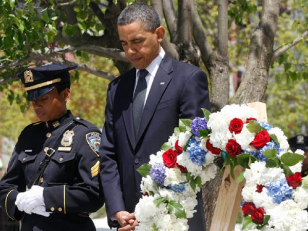 President Obama Lays a Wreath at Ground Zero