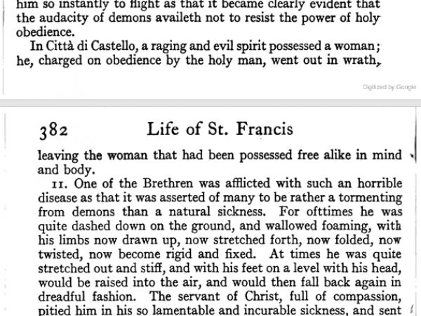 Extract from Life of Saint Francis, where the alleged exorcisms are portrayed.