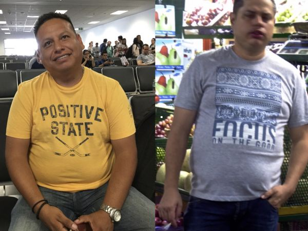 """The second shirt says """"Focus on the Good."""" Photos taken with permission in Peru and Colombia."""