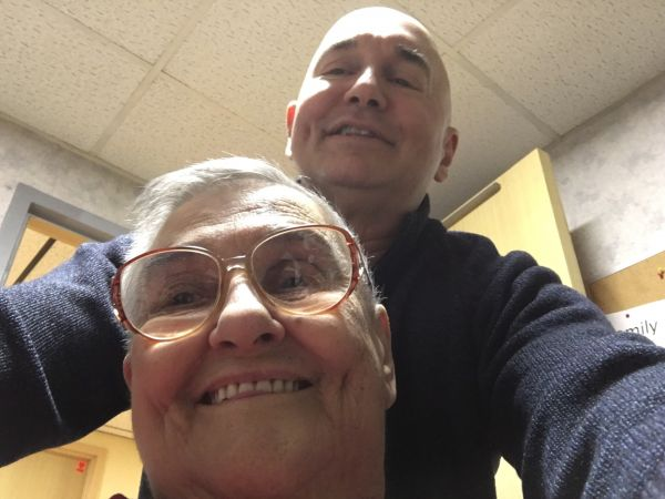 John-Manuel Andriote with his mother Anna Andriote, in December 2017, while she was in the midst of a protracted medical ordeal.