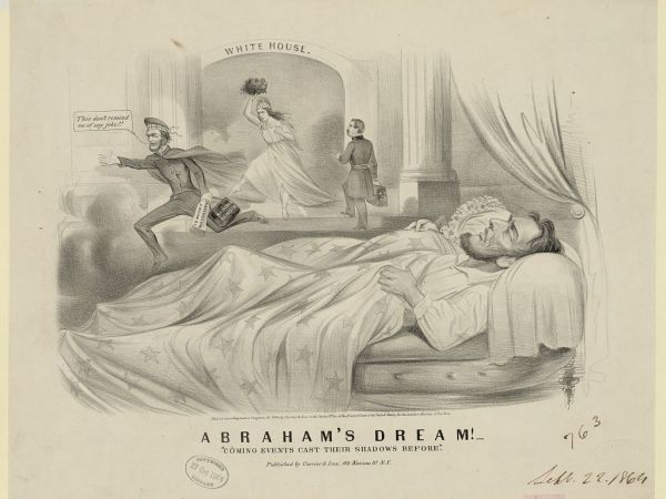 """""""Abraham's Dream! Coming Events Cast Their Shadow Before."""" Liithograph by Currier & Ives (1864)"""