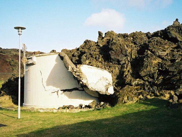 Vestmannaeyjar, Iceland: volcano damage.