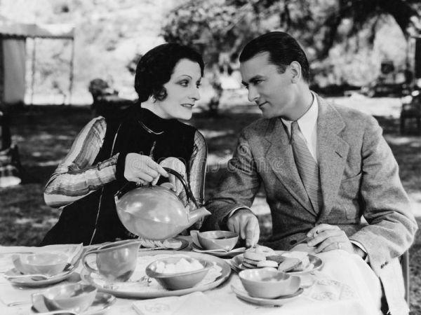 Couple having tea.