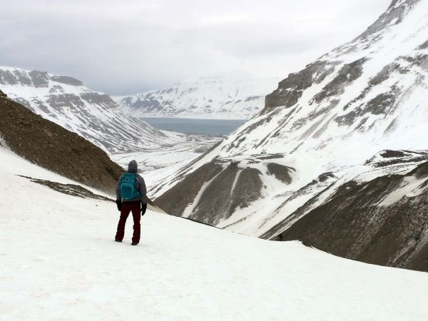 Looking down the valley to Longyearbyen--Svalbard's main settlement.