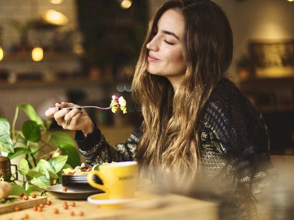 Woman enjoying her meal