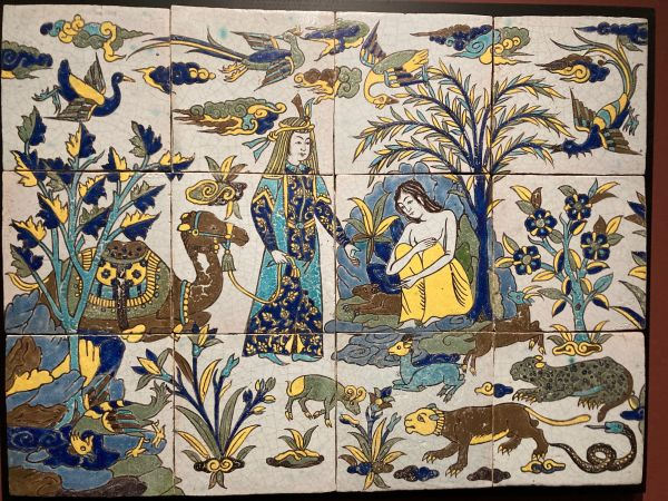"""Layla and Manjun"" tile panel, 17th century."