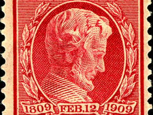 Lincoln as portrayed on a 1909 U.S. postage stamp.