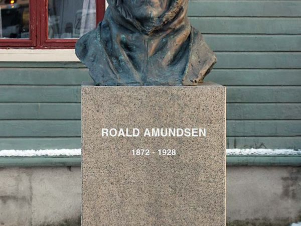 Memorial in Tromsø, Norway to Roald Amundsen, leader of the first team to reach the South Pole.