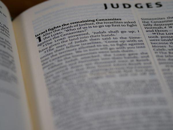 courtroom judges or the Biblical book of Judges?