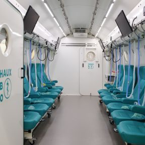 Hyperbaric oxygen therapy treatment room.