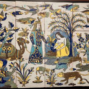 """Layla and Manjun"" tile panel, 17th century."