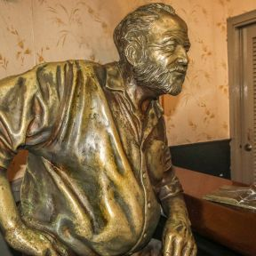 Hemingway statue located in Floridita bar, Cuba       in Habana city